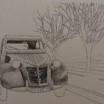 透明水彩で車を描いてみる | 下絵