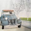 透明水彩で自動車を描く |彩色その3 背景の草原と空