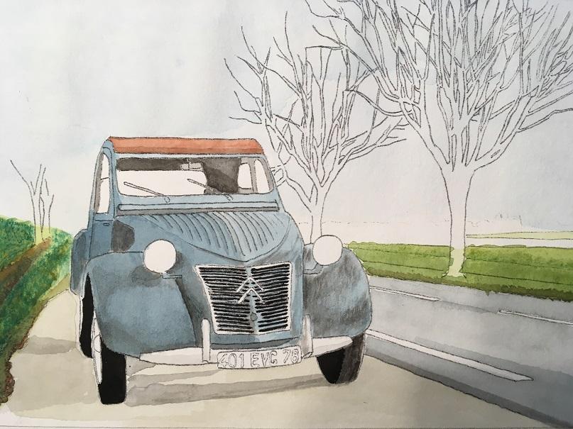 透明水彩で自動車を描く3