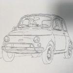 透明水彩で描いてみる自動車 │ 下絵