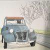 透明水彩で自動車を描く | 彩色その2 背景